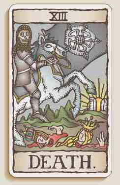"A tarot card, showing ""Death""."